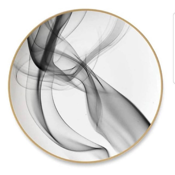 White And Black Silk Lines Dishes (Set of 2)