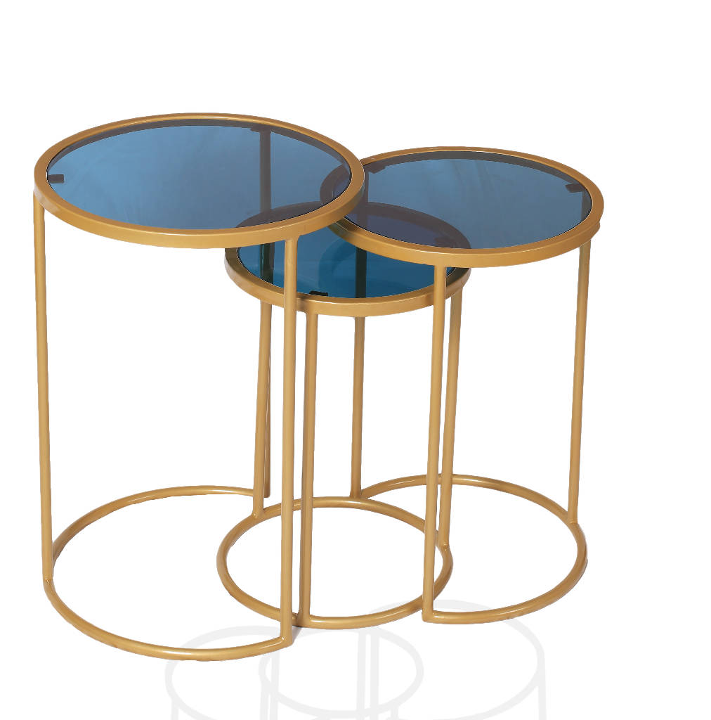 Metal Nesting Tables With Top Blue Glass (Set of 3)