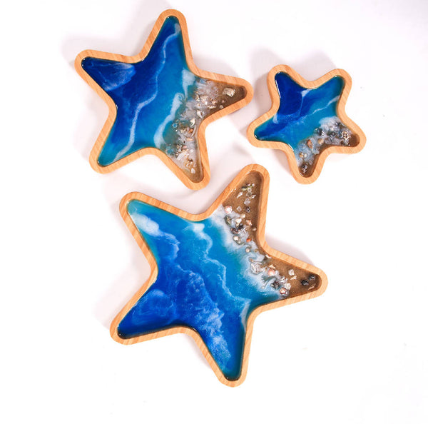 Star Trays with Stones - Ocean Blue (3 pcs.)