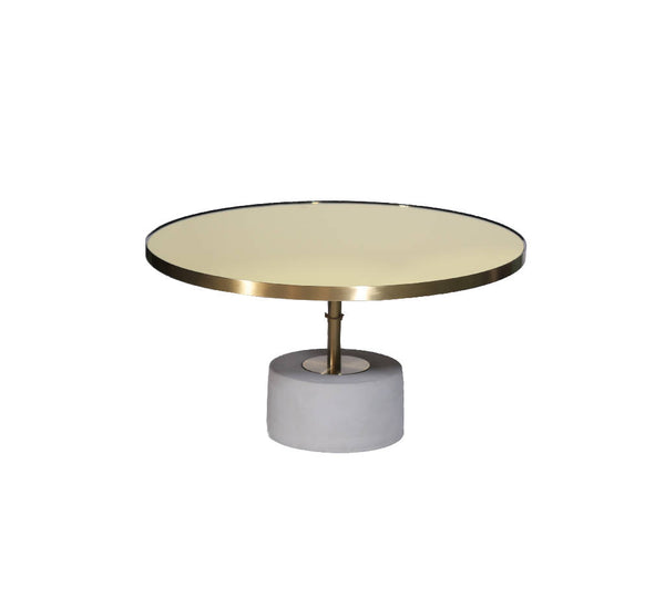 Round Brushed Gold Table - Wide