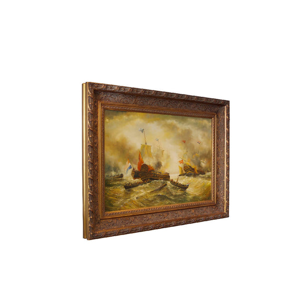 Ships at War Oil Painting - French
