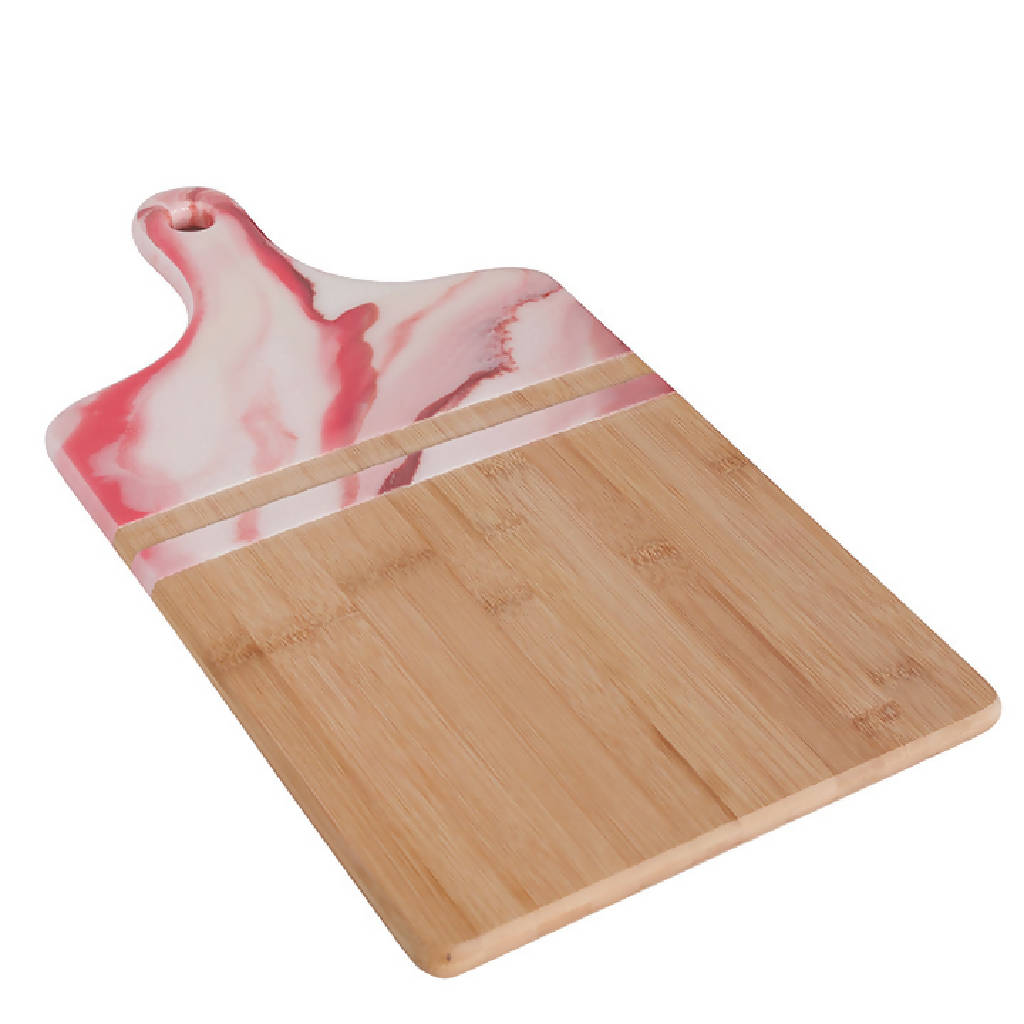 Rectangle Platter with Handle - Pink Marble (Large)