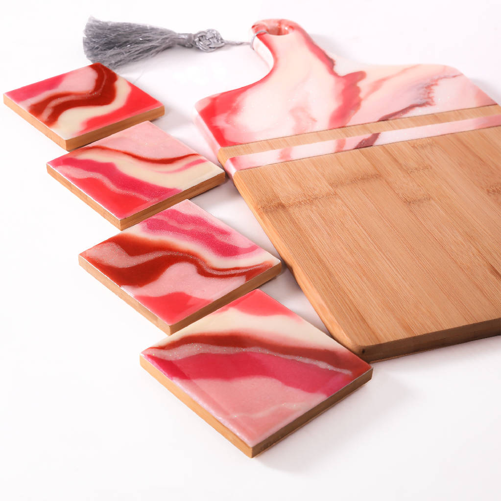 Platter with 4 Coasters - Pink Marble (Set.)