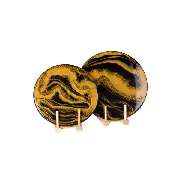 Round Serving Platters - Black/Gold ( 2 pcs.)