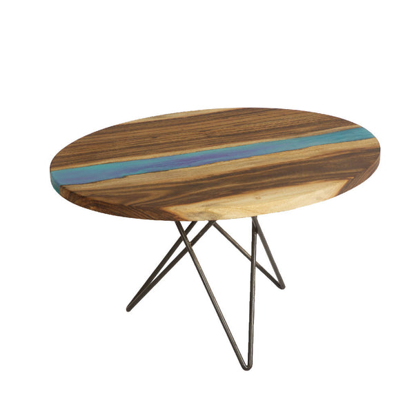 Burham Wood Table with Blue Resin
