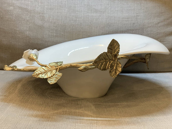 Serving Dish with Brass Branch and Leaves