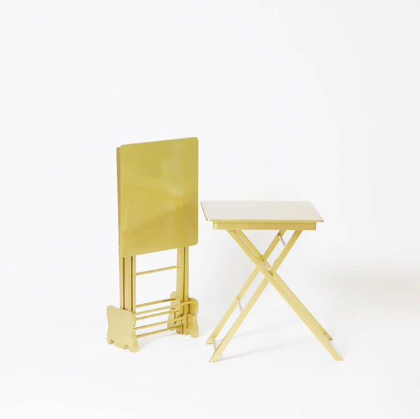 Folding Tables with Stand - Gold or Silver (3 pieces)