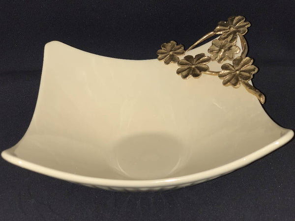 Serving Dish with Brass Flowers - Yellow