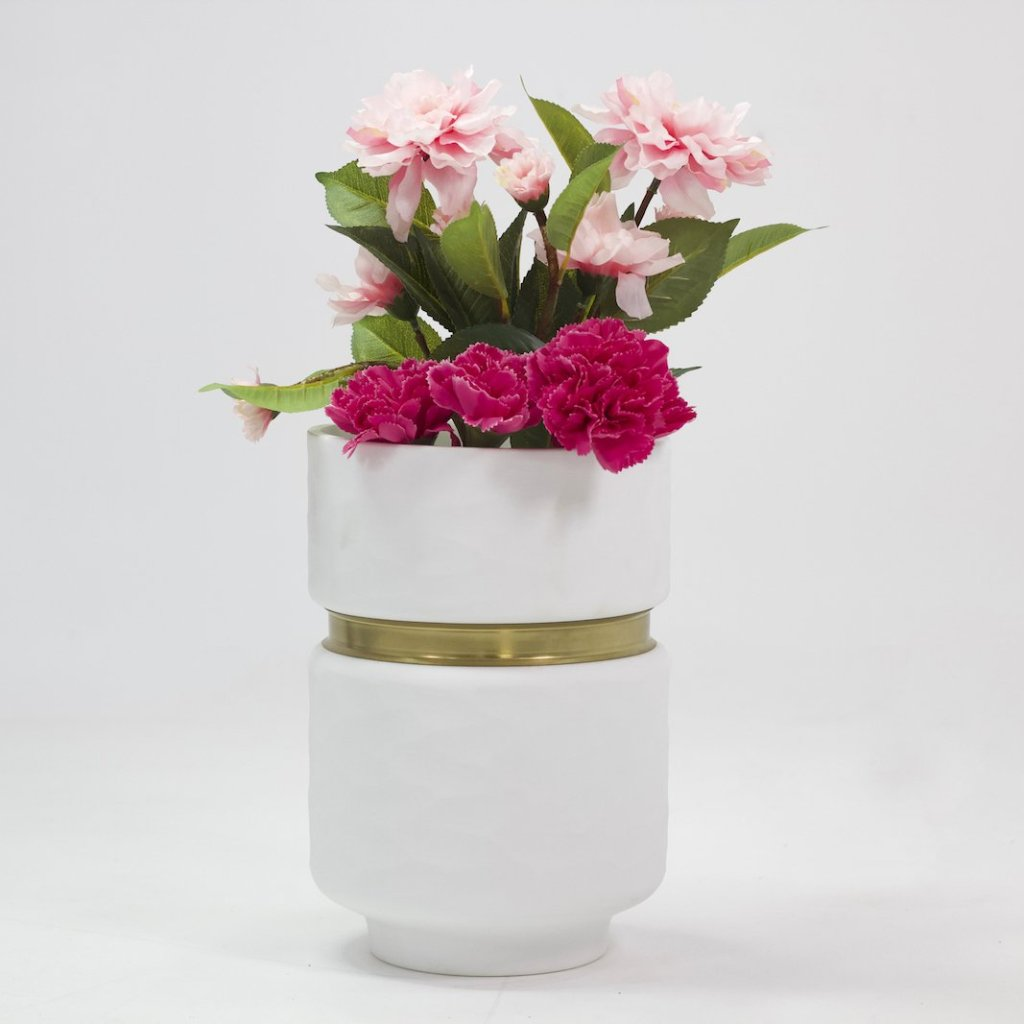 White vase with golden stripe