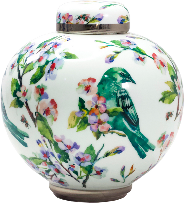 flowered vase with a lid