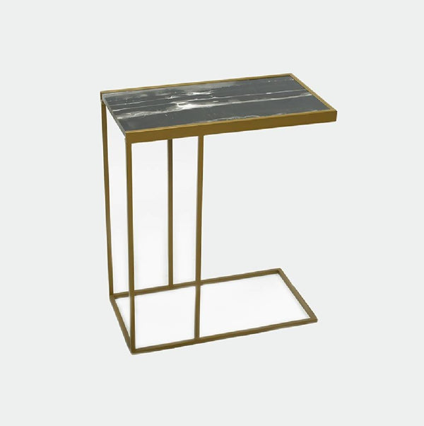 Sliding table with black marble
