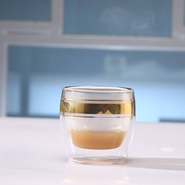 Coffee Double Glass - Gold (6 pcs.)
