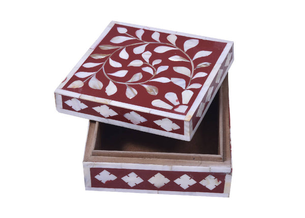 Mother Of Pearl Incense Box - Red