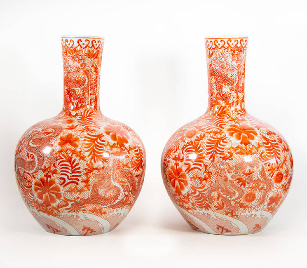 Japanese Vases With Long Neck - Red/White (2 pcs.)
