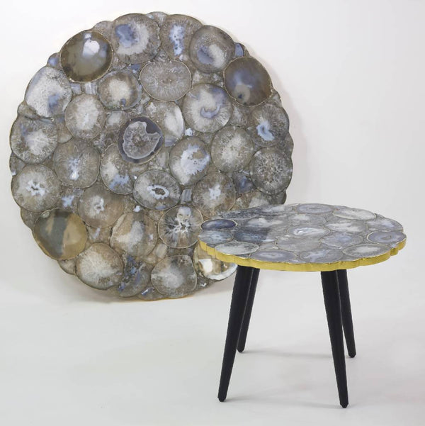 Silver Agate Stone Table