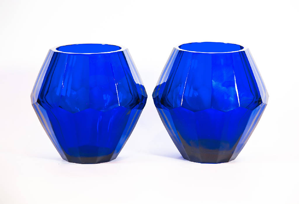 Dodecagon Vase - Blue Glass (Two pieces)