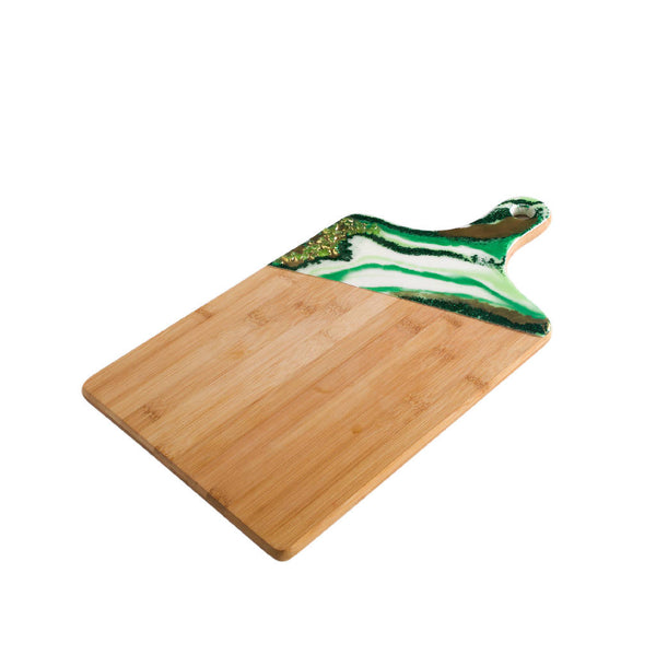 Rectangle Platter with Handle - Green Marble (Large)