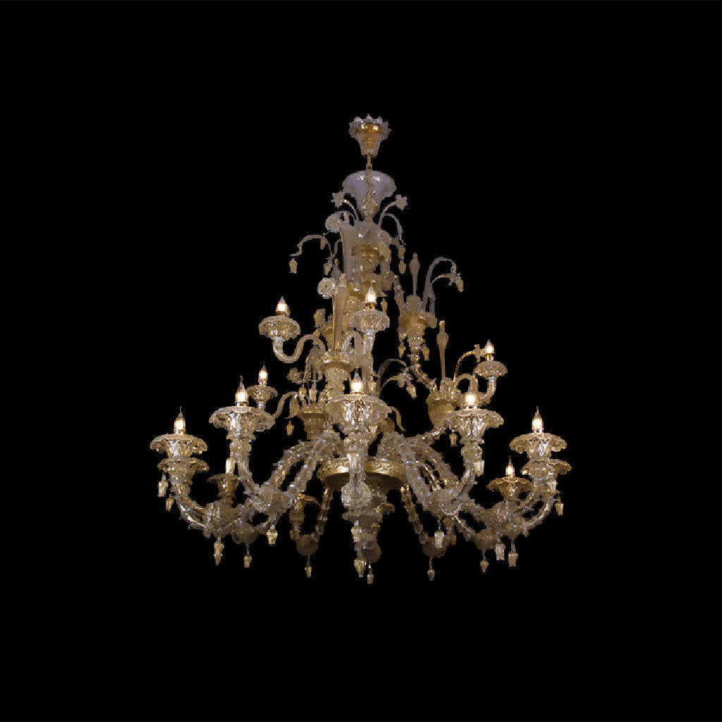 Large Murano Glass Chandelier (Transparent gold)