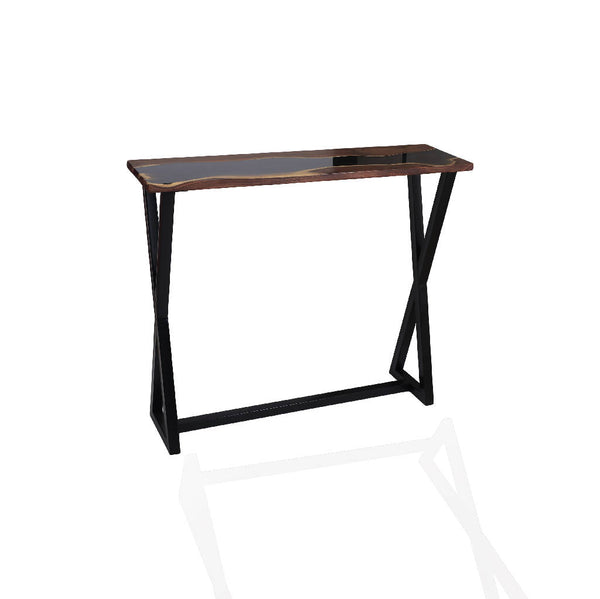 Willow Wood Console With Dark Gray Resin