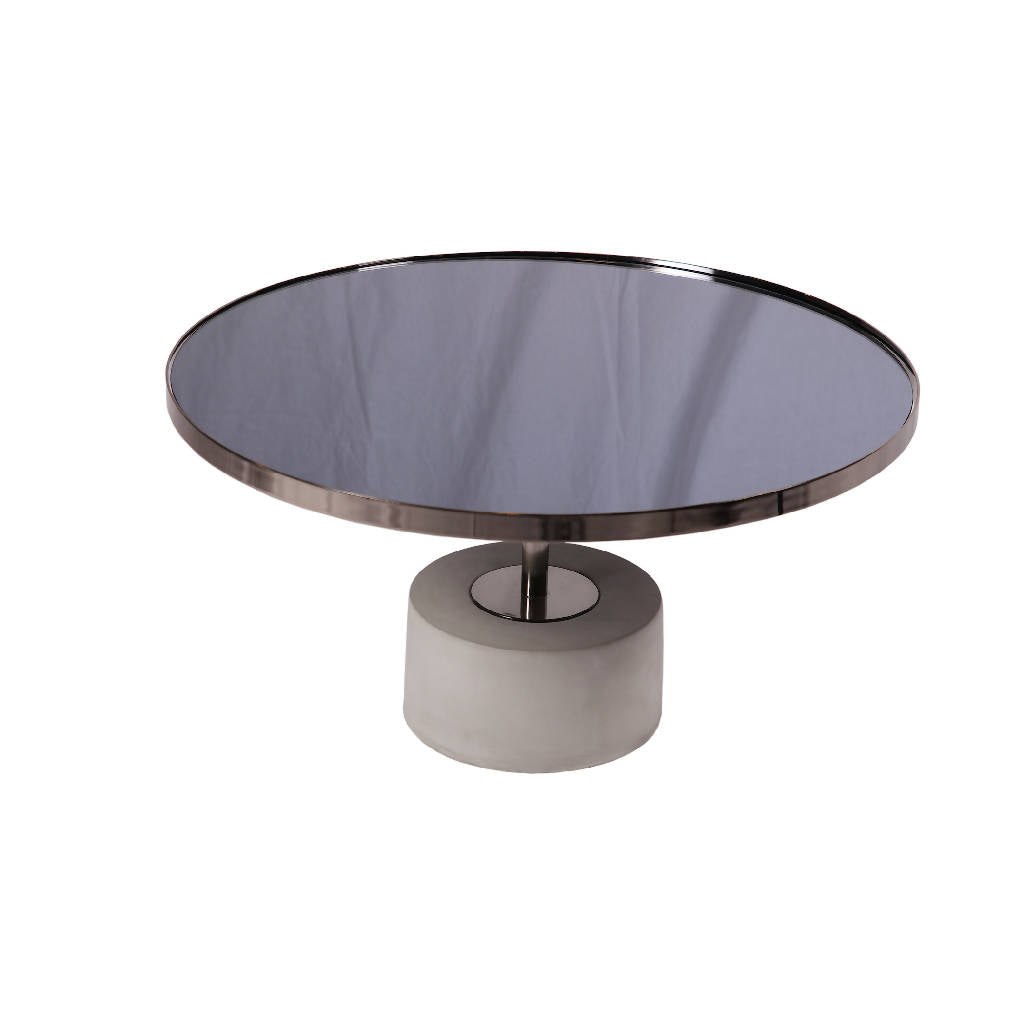 Round Metallic Black Table - Wide