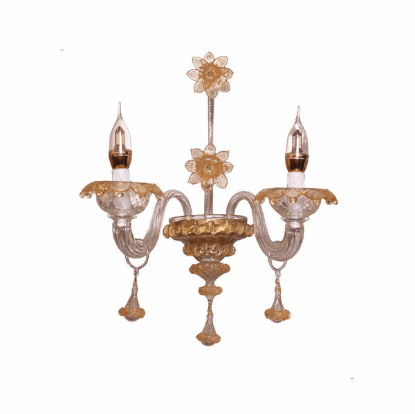 Wall Light Murano Glass (Transparent/Gold)