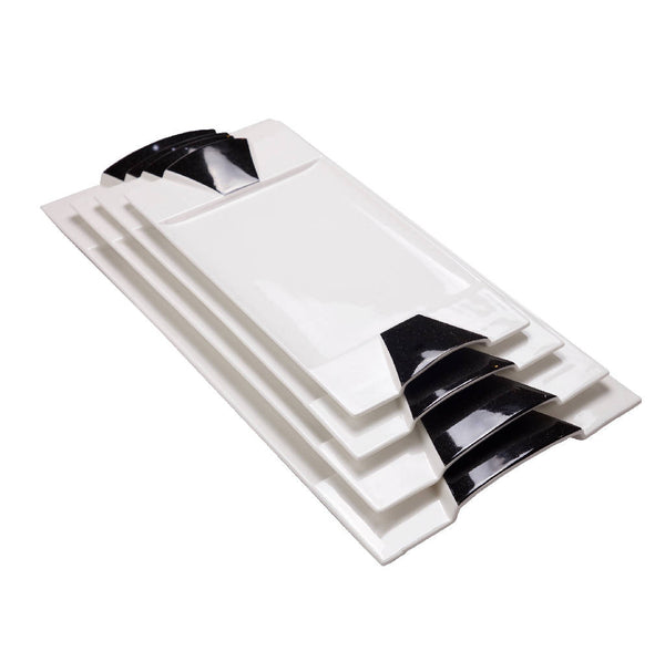 Rectangular Serving Trays - White/Black (4 pcs.)