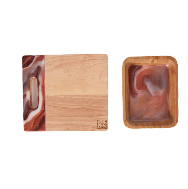 Square Platter - Brown Marble (Set Of Two)