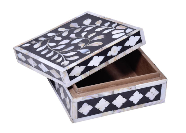 Mother Of Pearl Incense Box - Black