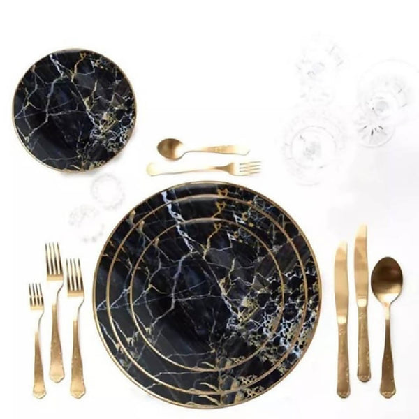 Black Marbleized Dishes (2 Sizes)