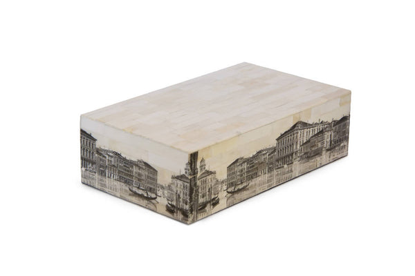 Wooden box with Venice drawings