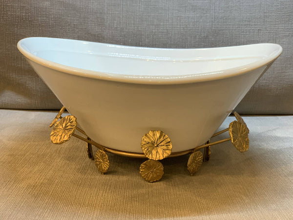 Serving Dish with Brass Flowers Base