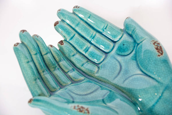 Two Hand Turquoise Statue .