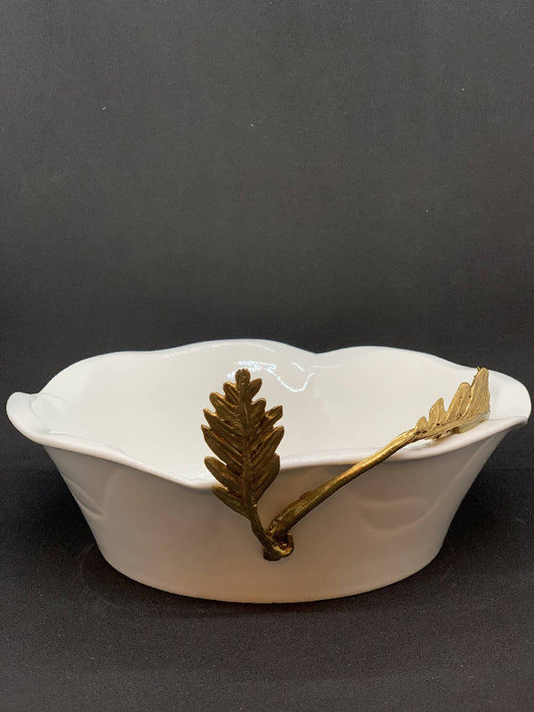 Flower Shaped Dish with Brass Leaf