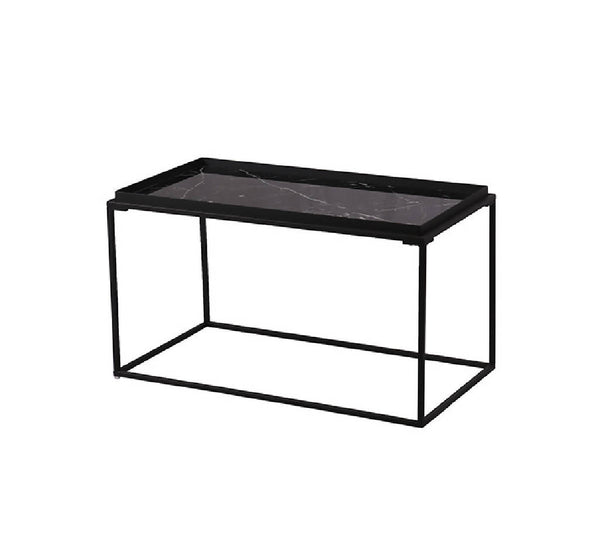 Kang Rectangle Coffee Table - Black Glass Marble