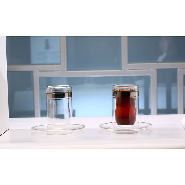 Istikana Double Glass & Saucer - Platinum (6 pcs.)