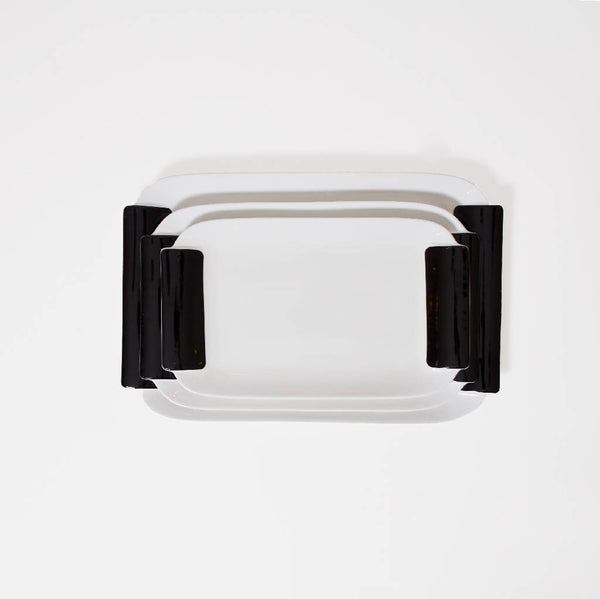 Rectangular Serving Trays - White/Black (3 pcs.)