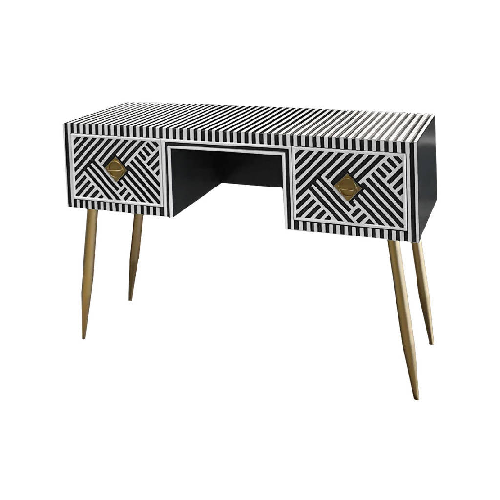 Striped Black and White Console