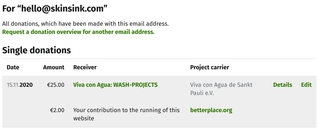 SKINSINK Donation to Viva Con Agua WASH Projects