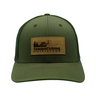 TFO Army Green Leather Patch Hat