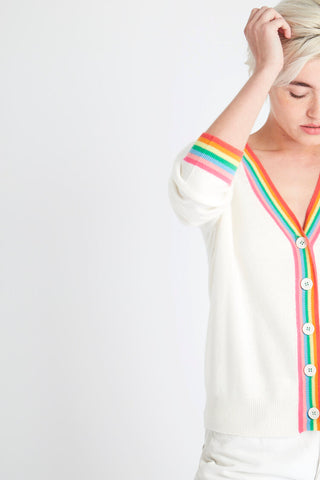 Jumper 1234 Cashmere Rainbow Trim Cardigan