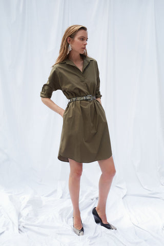 Set Khaki Cotton Shirtdress