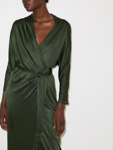 Yasmin Wrap Dress in Turf Green