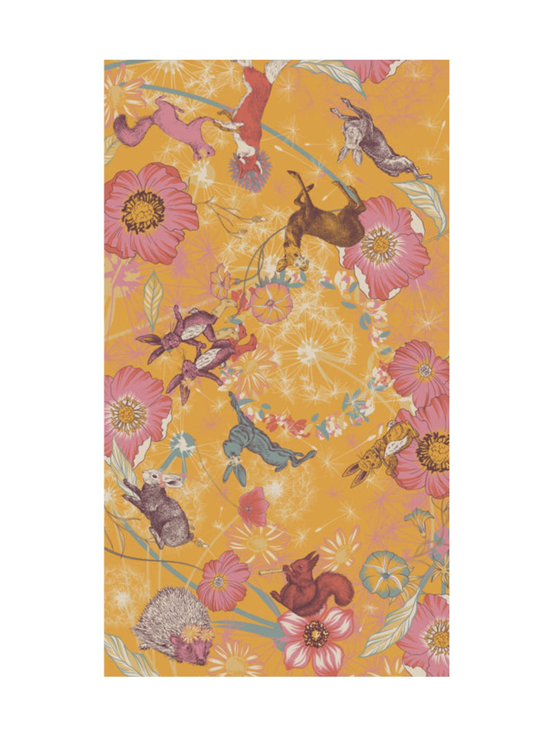 Powder Festival Friends printed scarf in yellow colourway