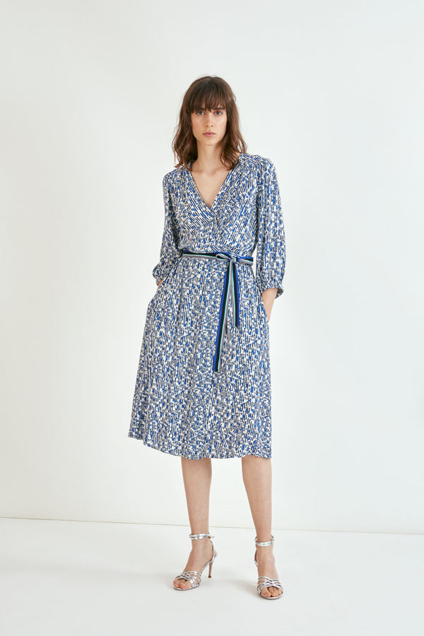 Carmela Abstract Print Wrap Dress
