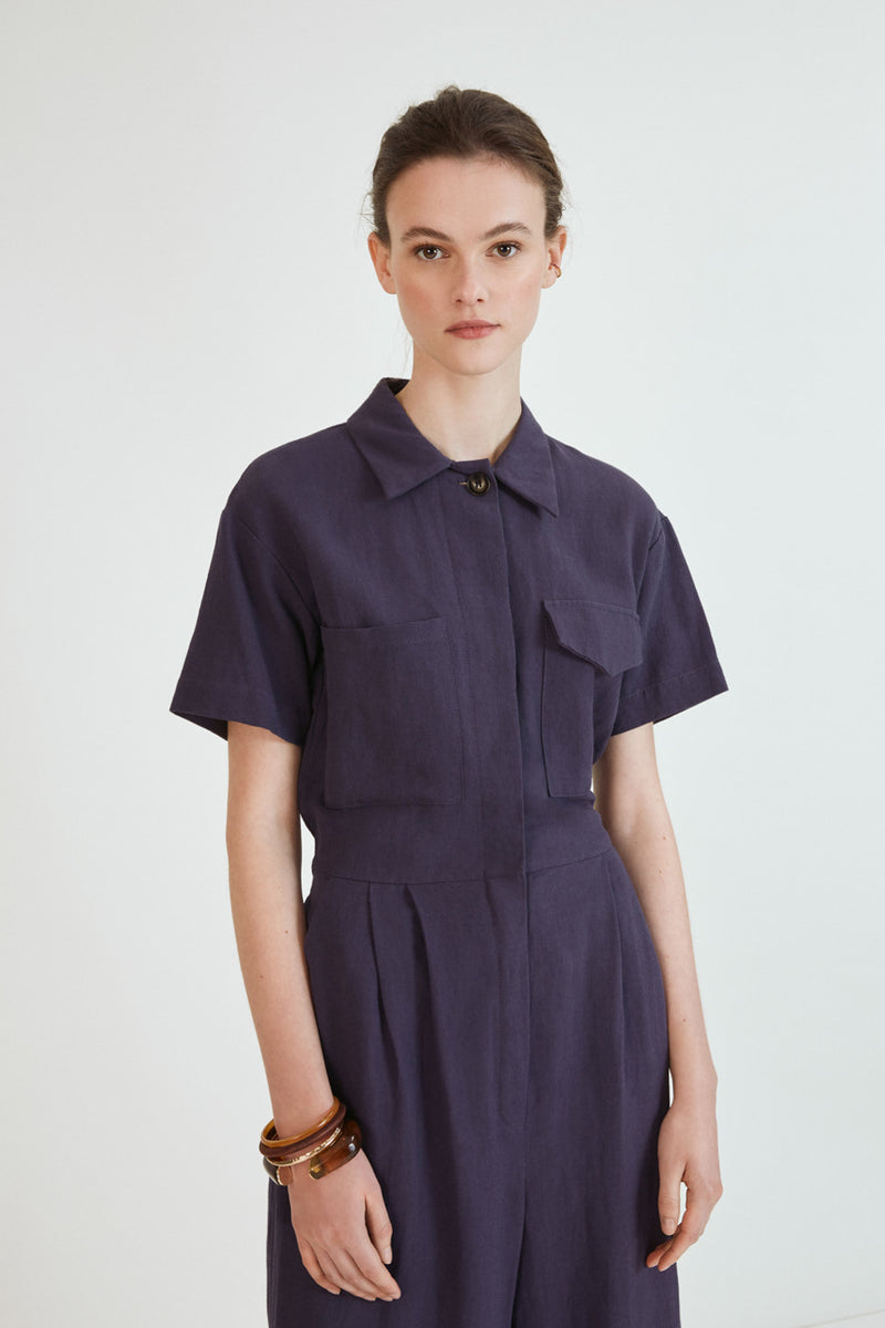 Suncoo Tibor Utility Style Jumpsuit in Navy