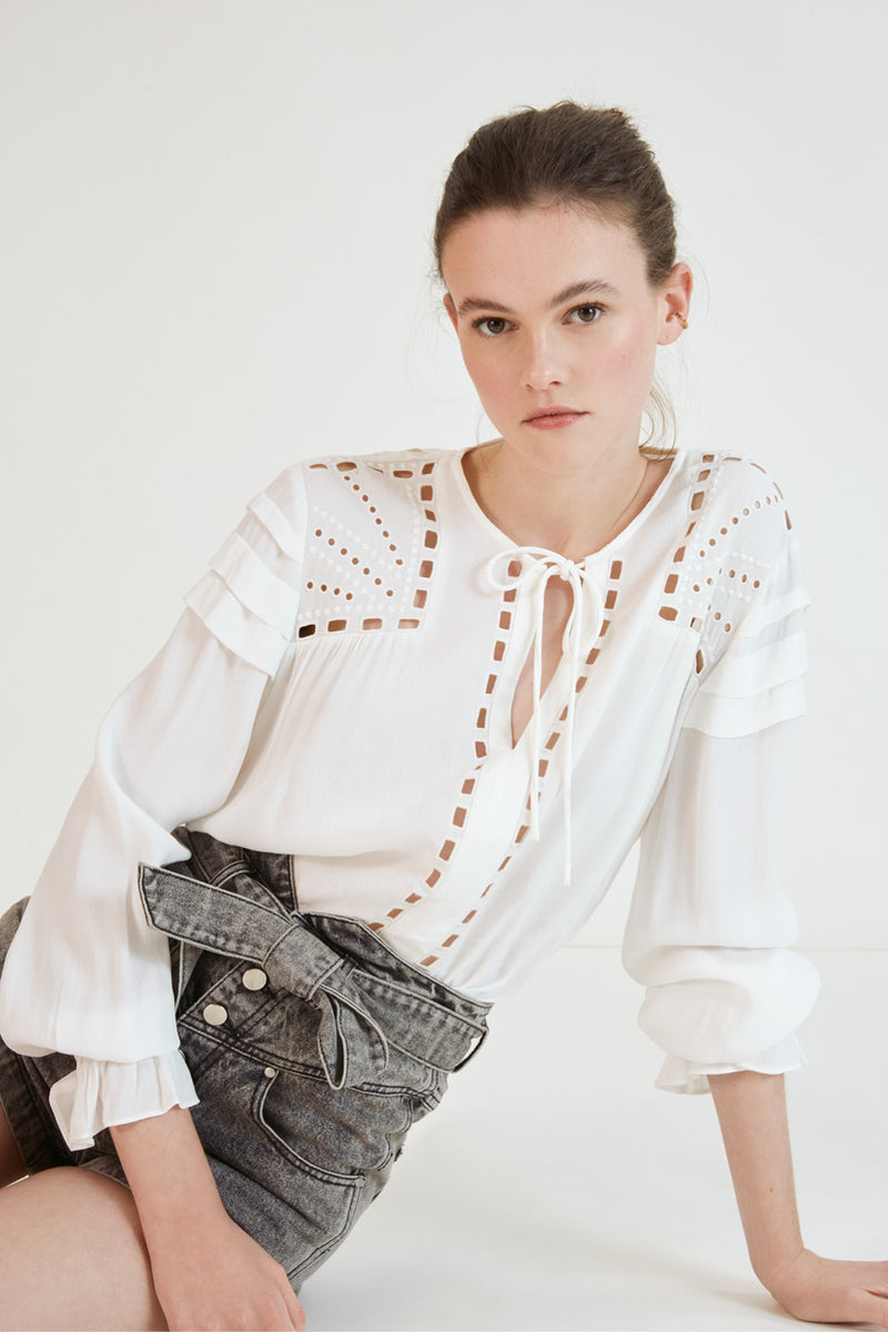 Suncoo Lorely Embroidered Tunic shirt in white