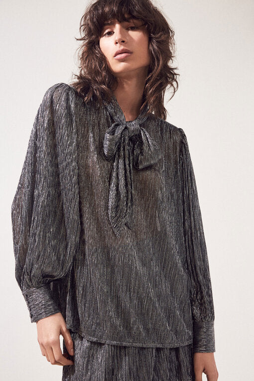 Suncoo Lynsee pleated silver metallic tie neck blouse.