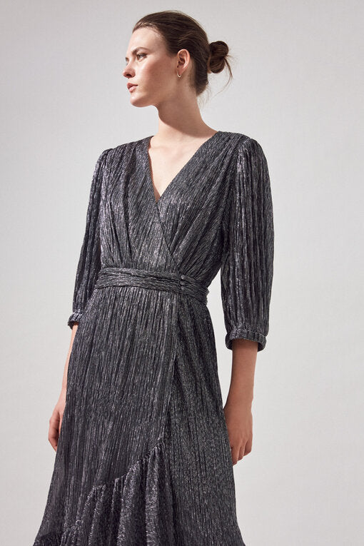 Suncoo Cyllia pleated silver metallic maxi dress