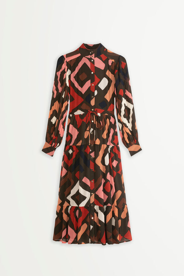 Suncoo Chelby geometric print pleat detail midi dress.