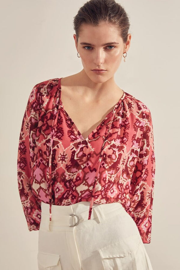 Suncoo Lexie Ikat Print Blouse in Pink